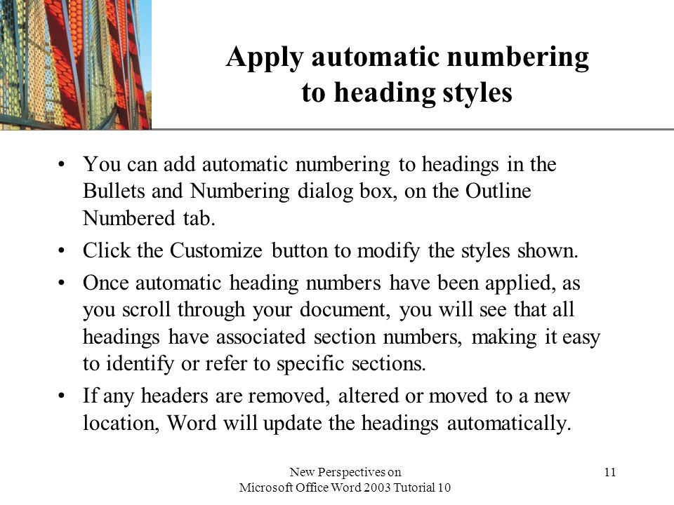 Apply automatic numbering to heading styles