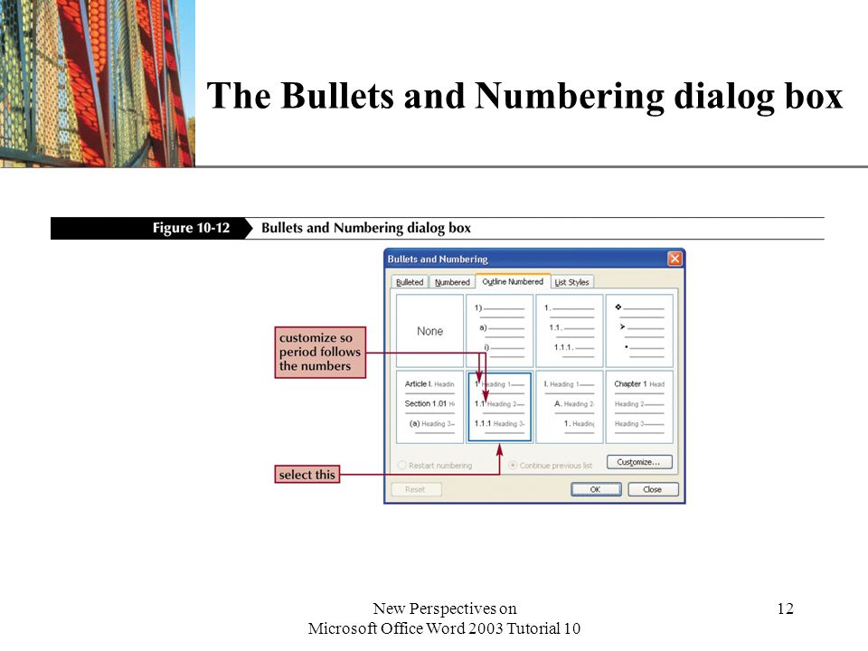 The Bullets and Numbering dialog box