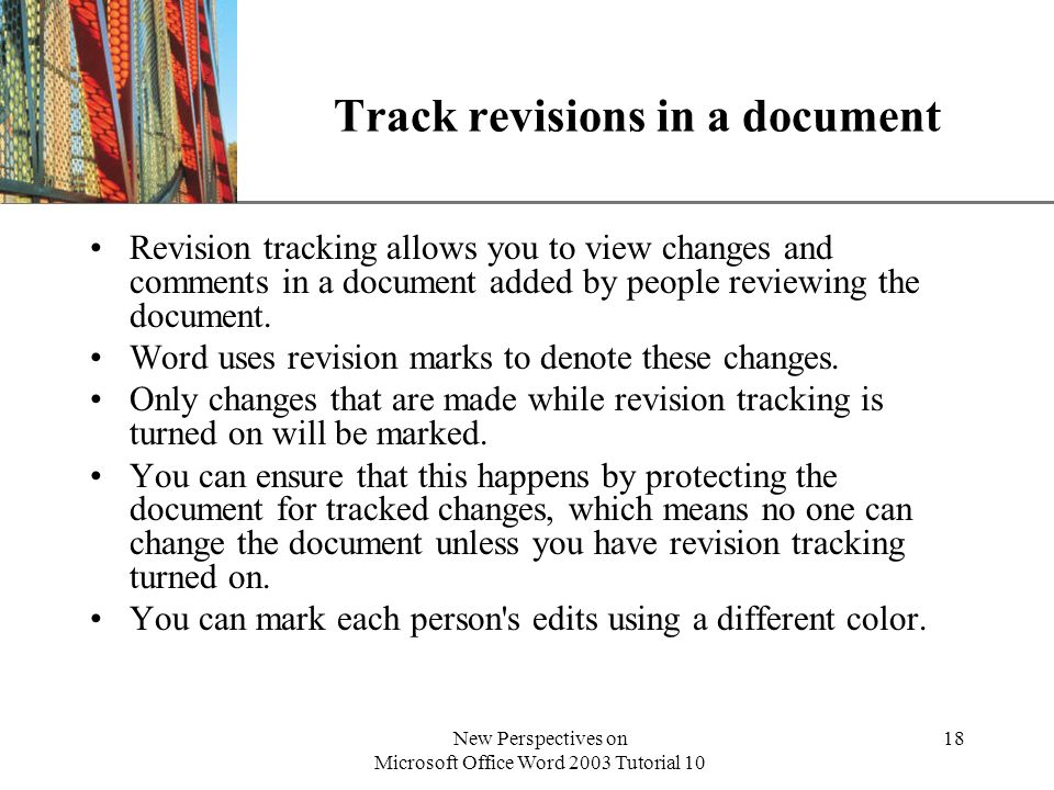 Track revisions in a document