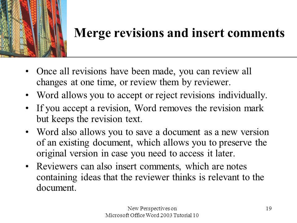 Merge revisions and insert comments