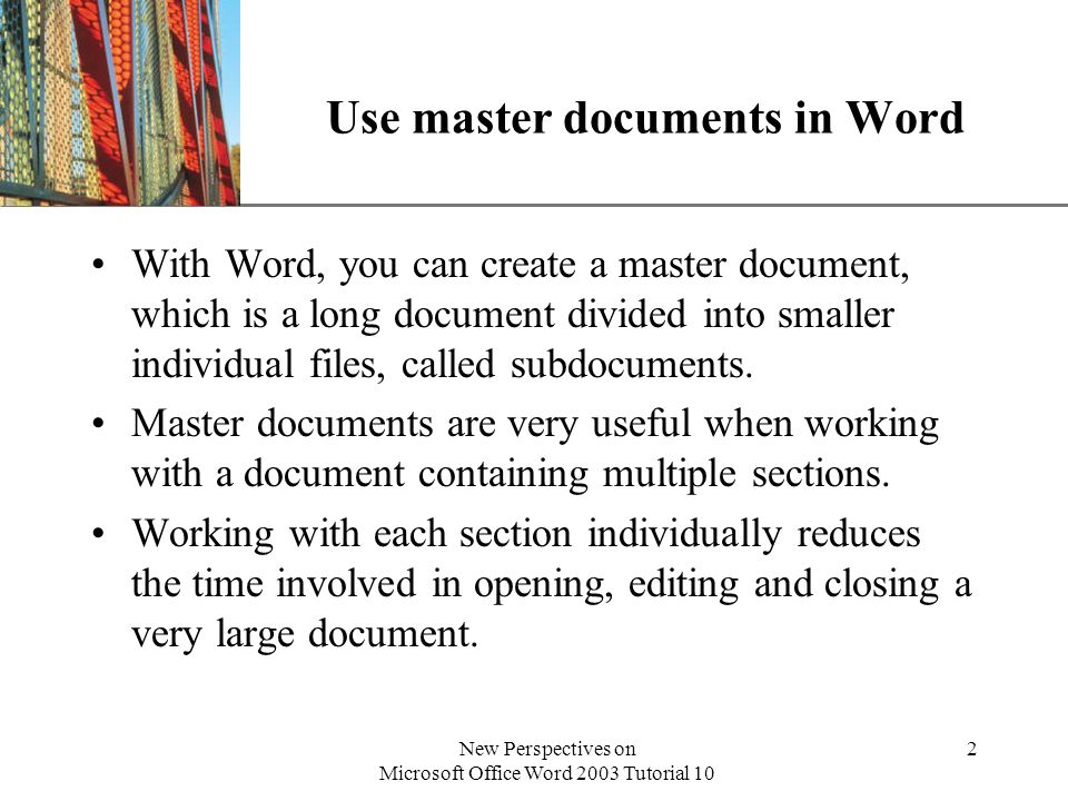 Use master documents in Word