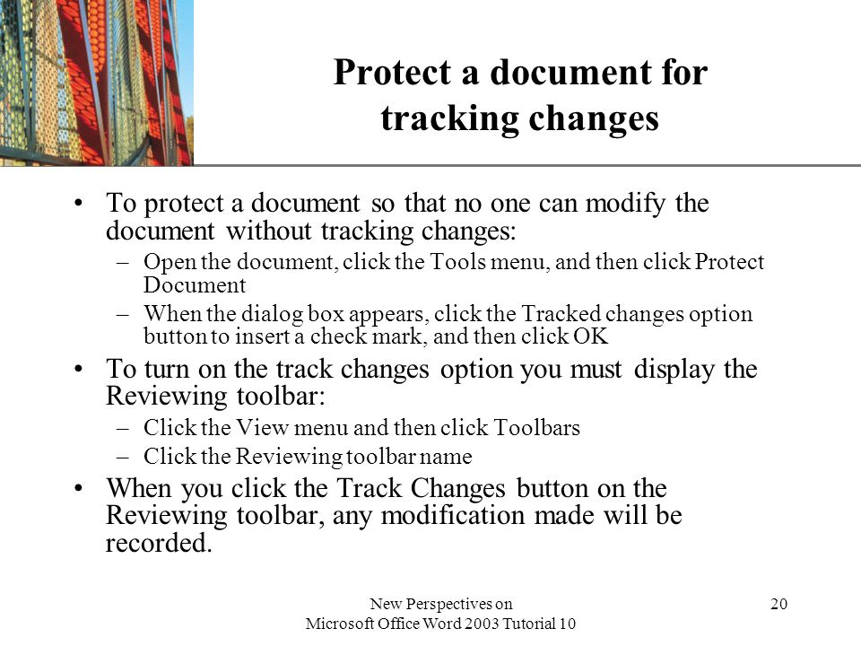 Protect a document for tracking changes