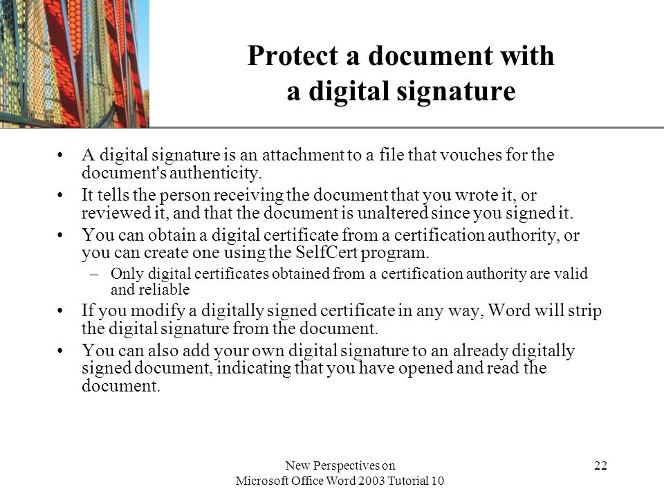 Protect a document with a digital signature