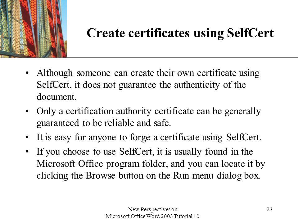 Create certificates using SelfCert