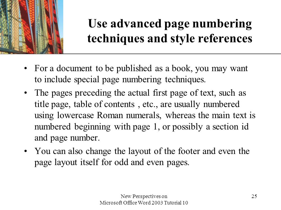 Use advanced page numbering techniques and style references