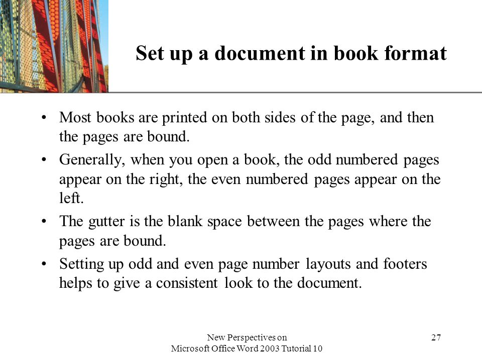 Set up a document in book format
