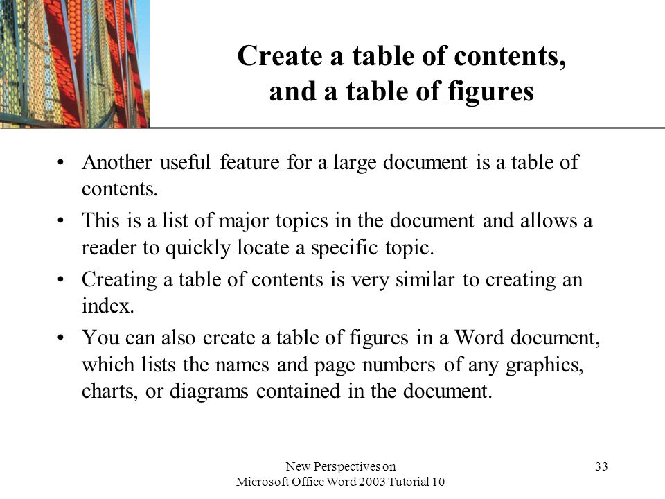 Create a table of contents, and a table of figures