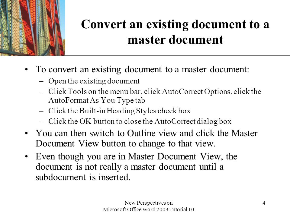 Convert an existing document to a master document