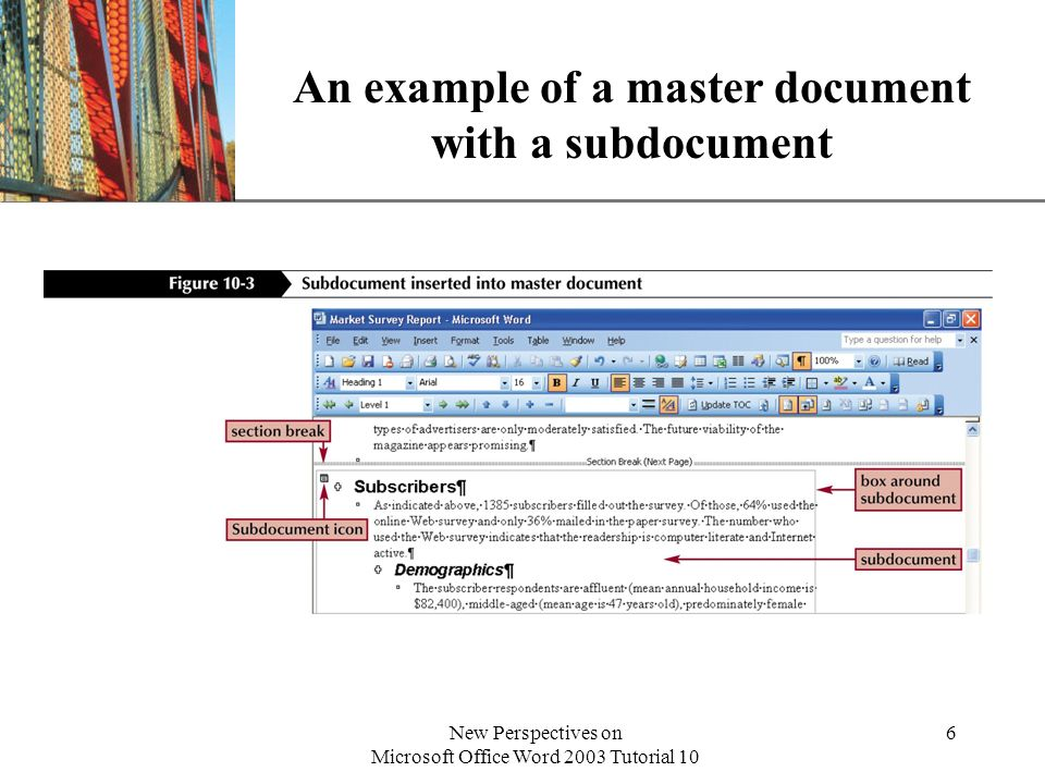 An example of a master document with a subdocument