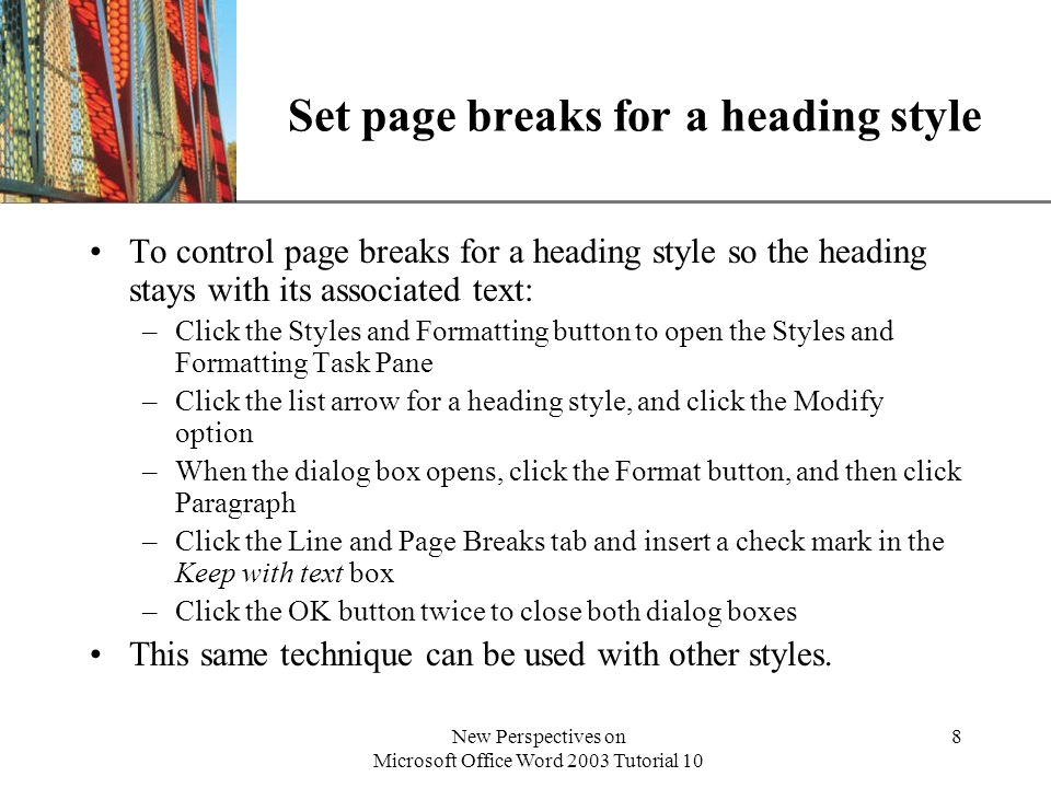 Set page breaks for a heading style