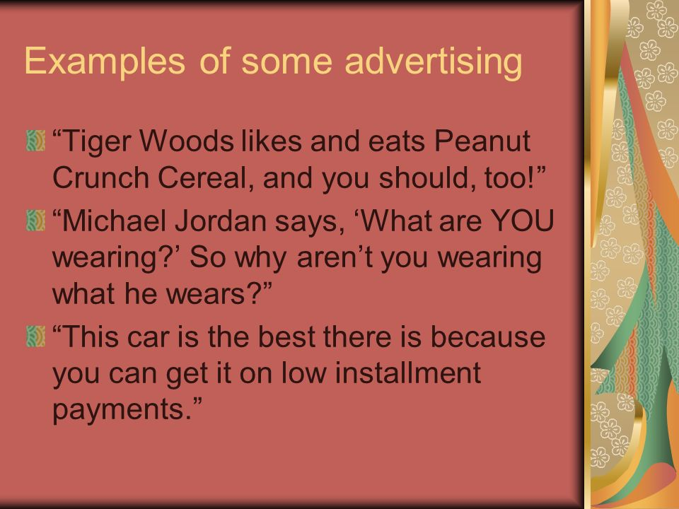 Examples of some advertising