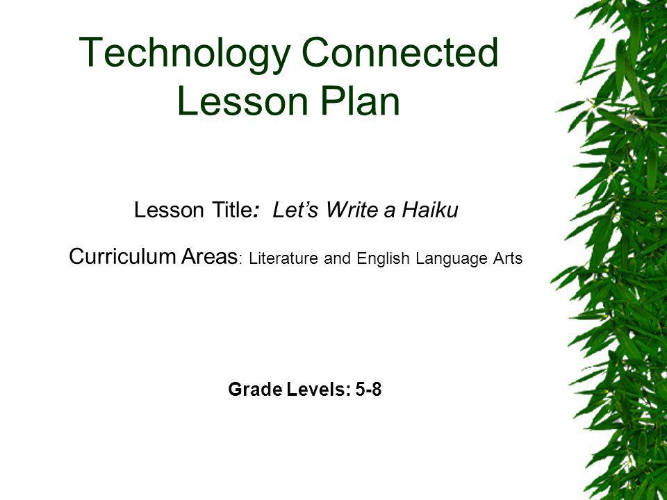 Technology Connected Lesson Plan