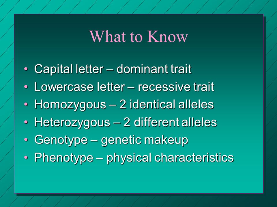 What to Know Capital letter – dominant trait