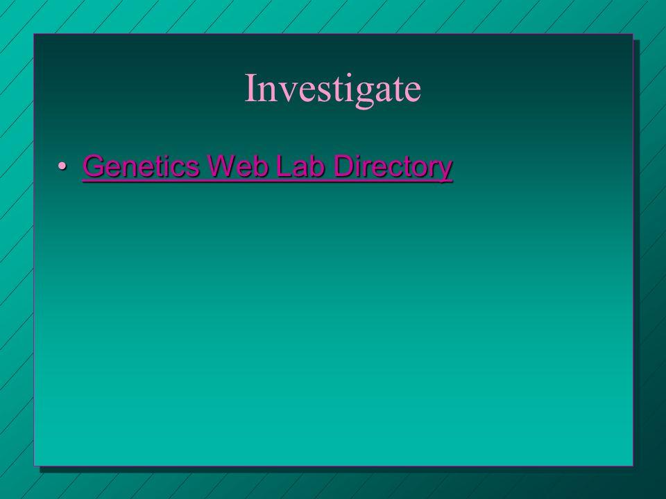 Investigate Genetics Web Lab Directory