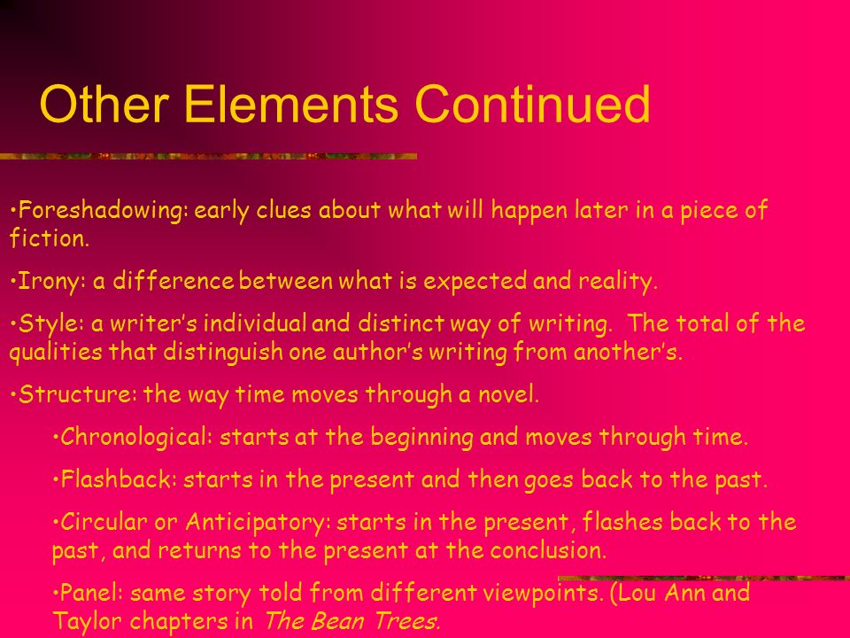 Other Elements Continued