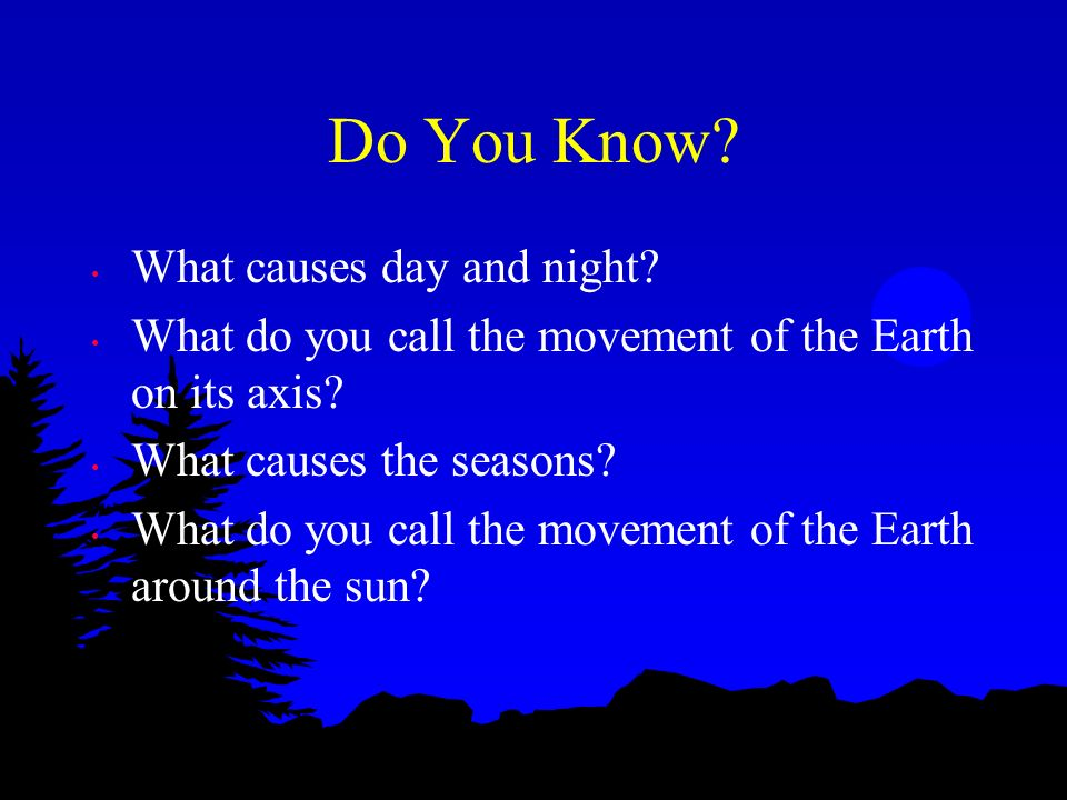 Do You Know What causes day and night