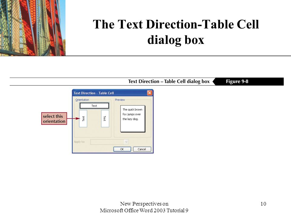 The Text Direction-Table Cell dialog box