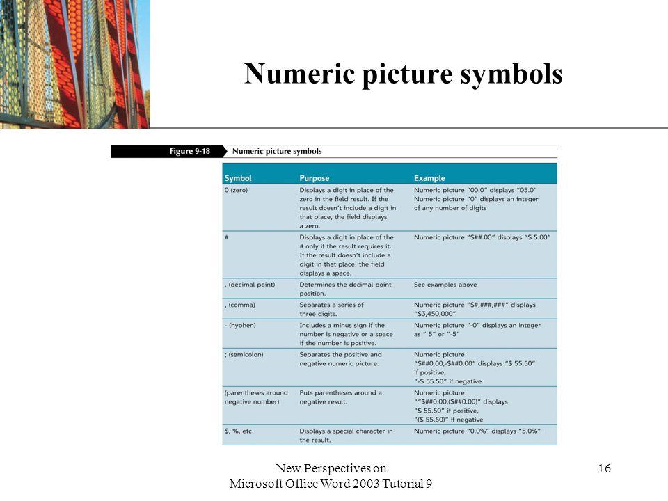 Numeric picture symbols