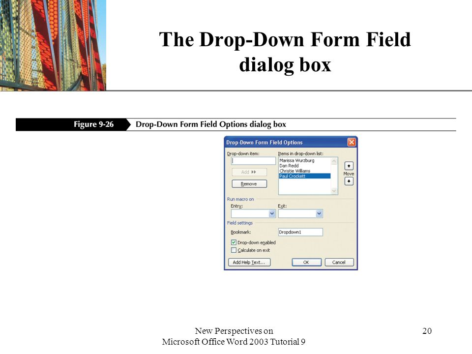 The Drop-Down Form Field dialog box