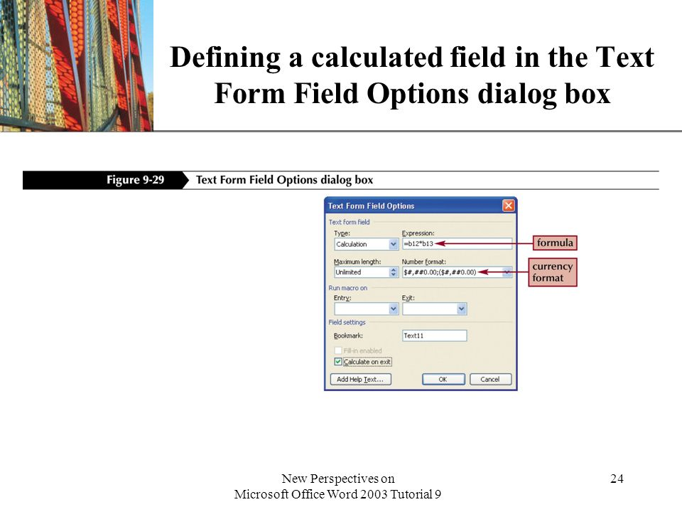 Defining a calculated field in the Text Form Field Options dialog box