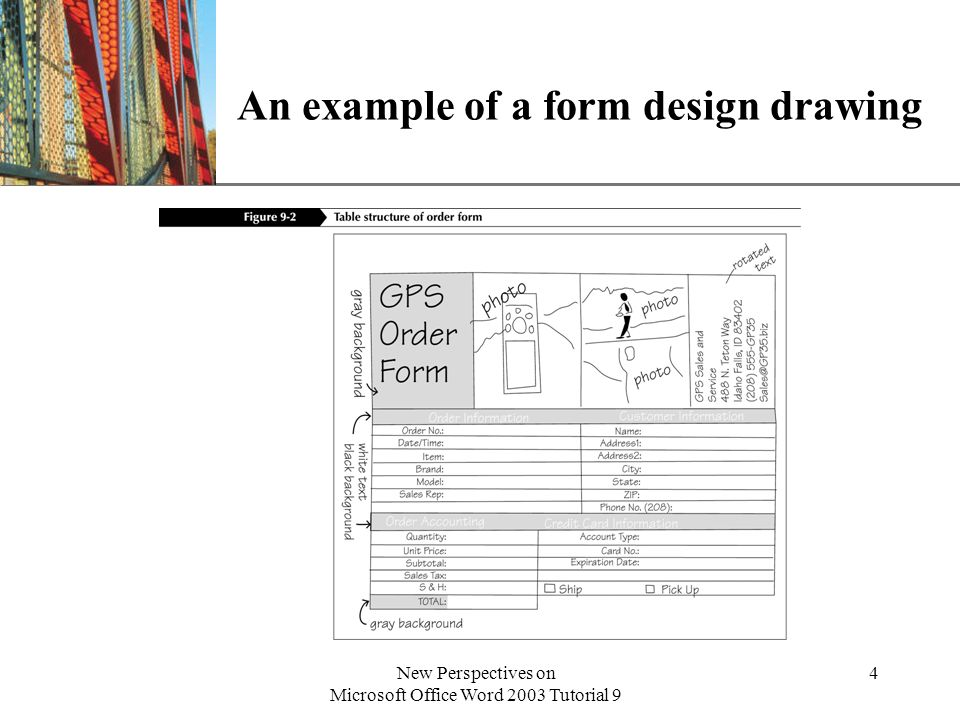 An example of a form design drawing