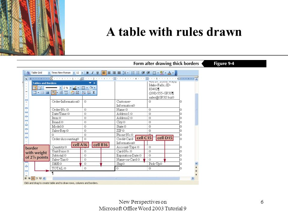 A table with rules drawn