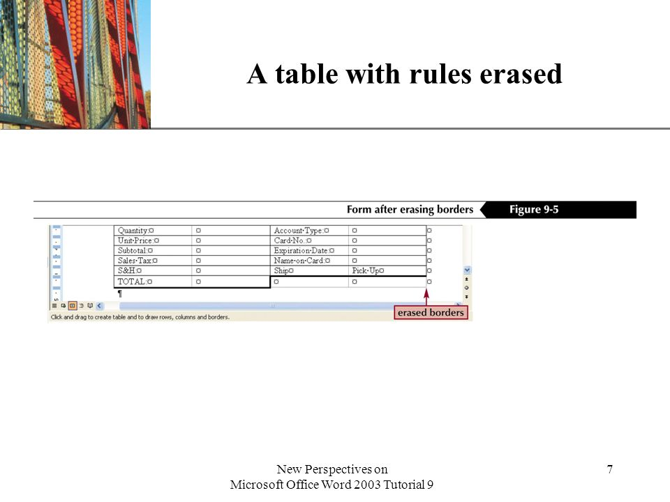 A table with rules erased