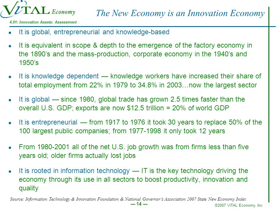 The New Economy is an Innovation Economy