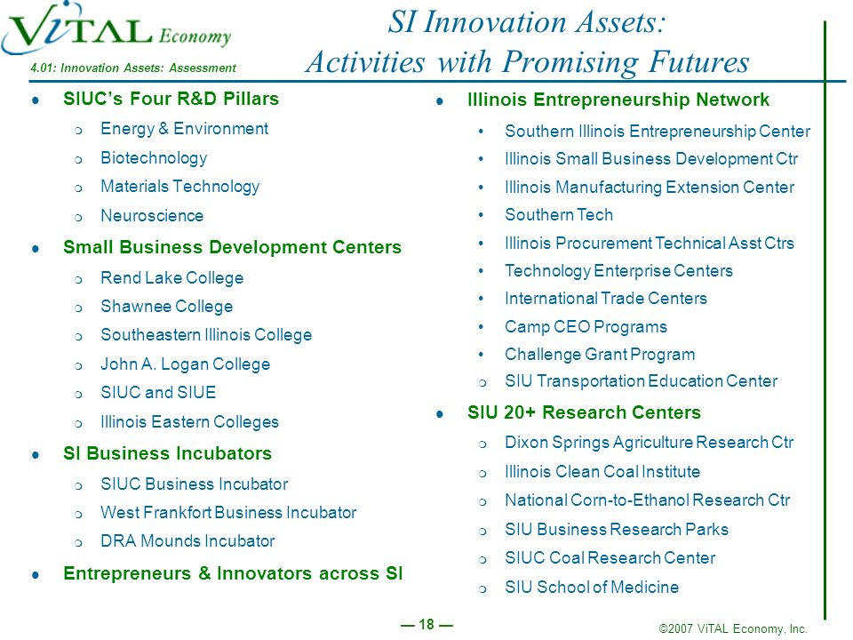SI Innovation Assets: Activities with Promising Futures