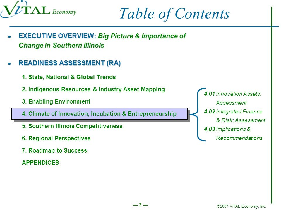 Table of Contents EXECUTIVE OVERVIEW: Big Picture & Importance of Change in Southern Illinois. READINESS ASSESSMENT (RA)