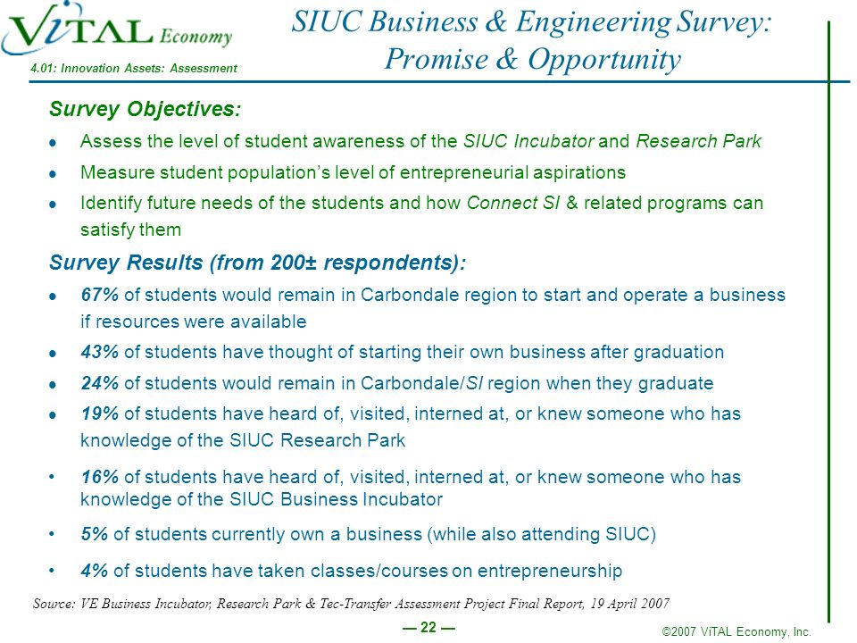 SIUC Business & Engineering Survey: Promise & Opportunity