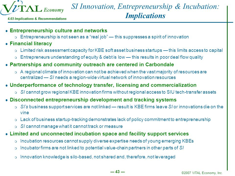 SI Innovation, Entrepreneurship & Incubation: Implications