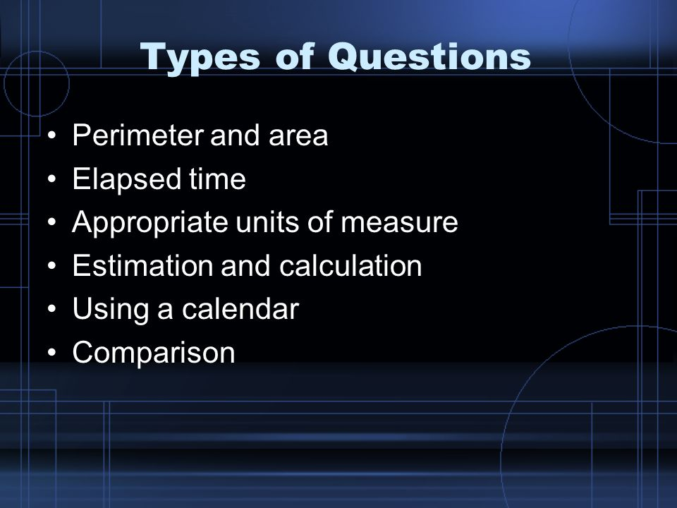 Types of Questions Perimeter and area Elapsed time