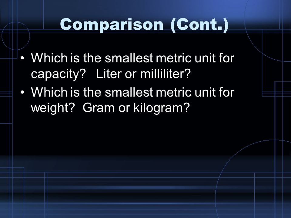 Comparison (Cont.) Which is the smallest metric unit for capacity Liter or milliliter