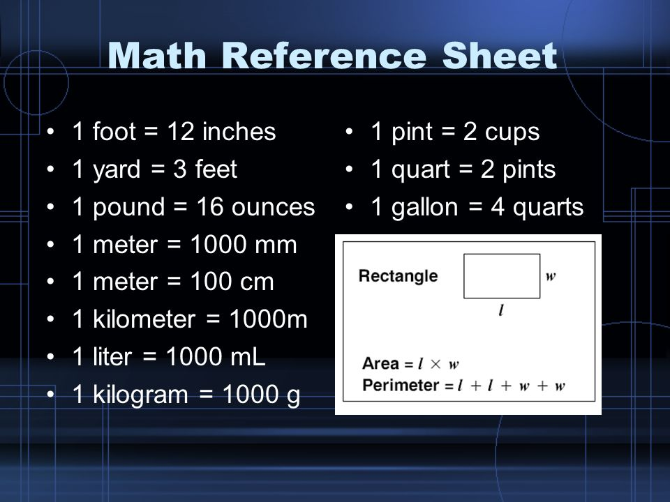 Math Reference Sheet 1 foot = 12 inches 1 yard = 3 feet