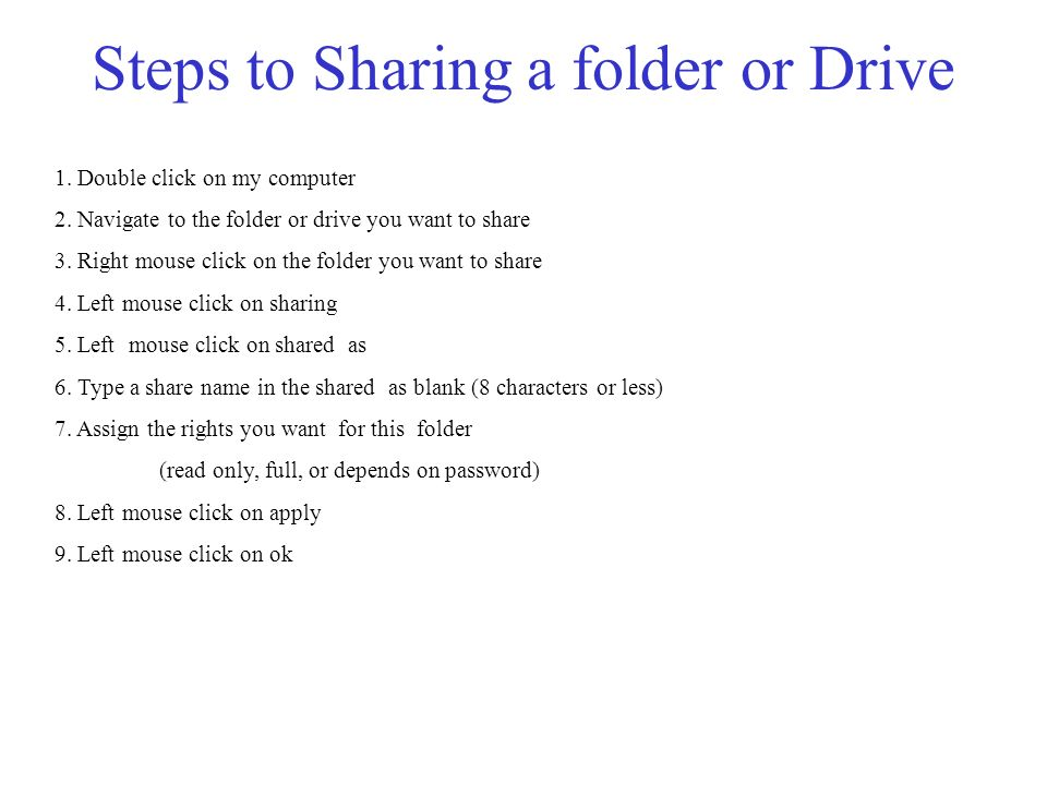 Steps to Sharing a folder or Drive