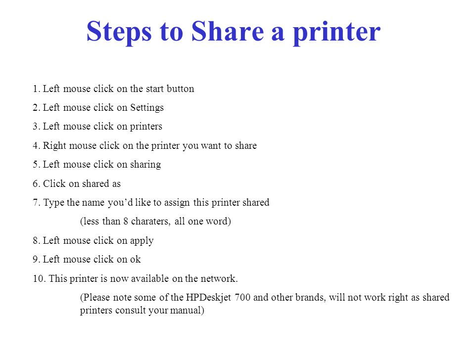 Steps to Share a printer