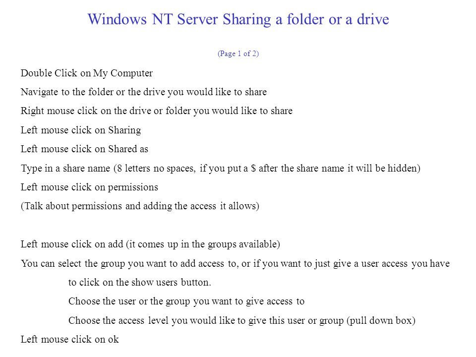 Windows NT Server Sharing a folder or a drive (Page 1 of 2)