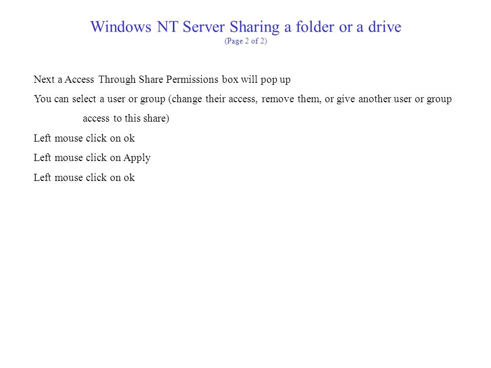 Windows NT Server Sharing a folder or a drive (Page 2 of 2)