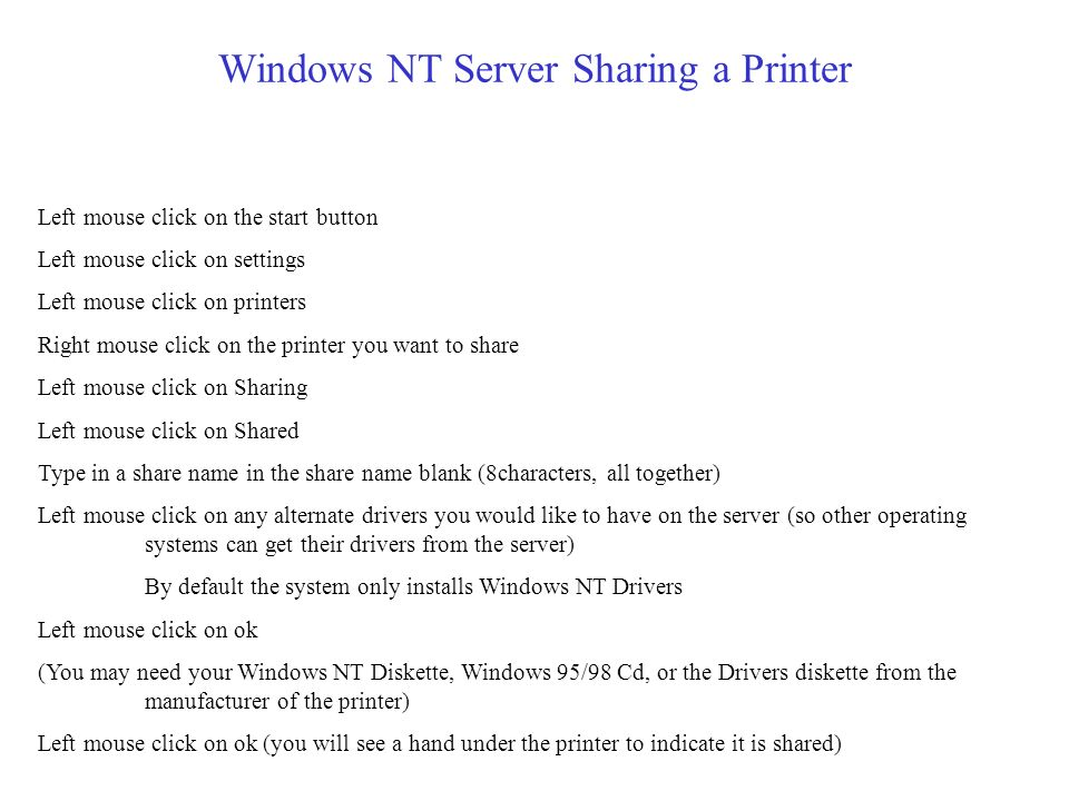 Windows NT Server Sharing a Printer