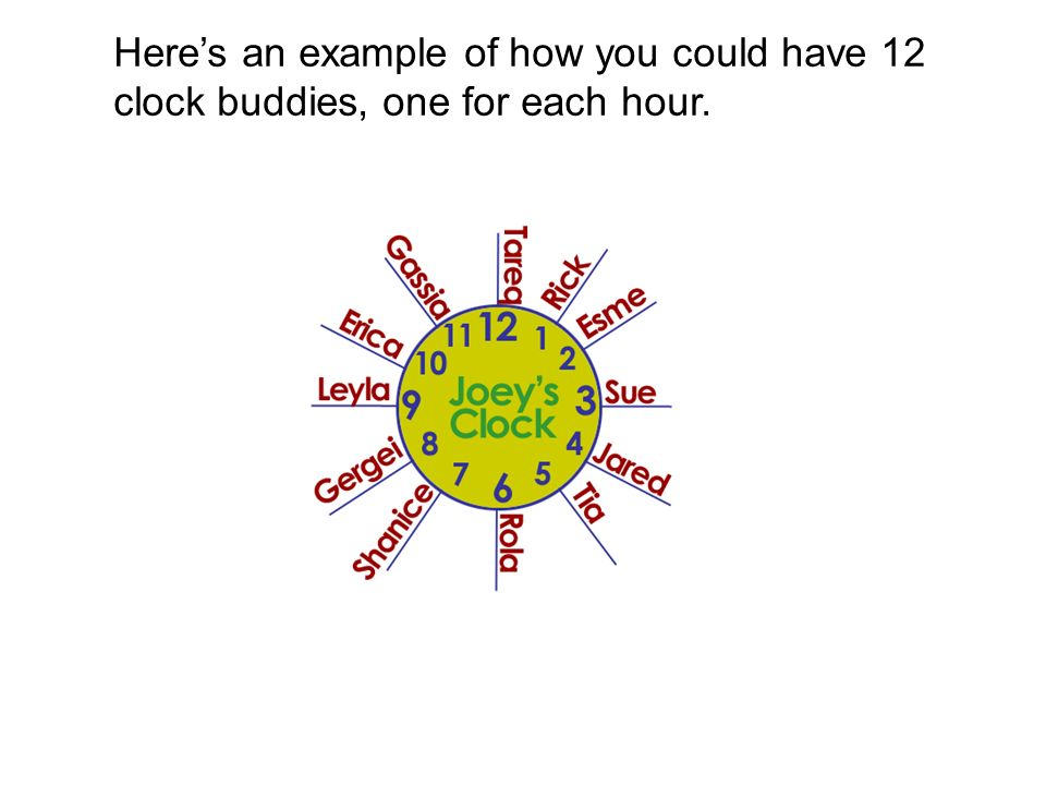 Here's an example of how you could have 12 clock buddies, one for each hour.