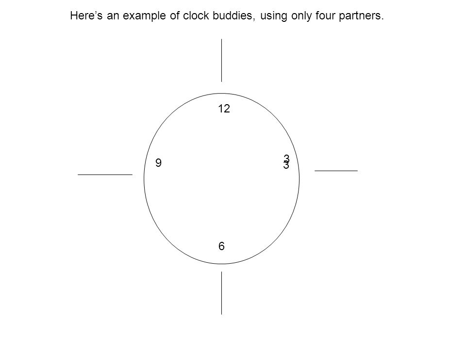 Here's an example of clock buddies, using only four partners.