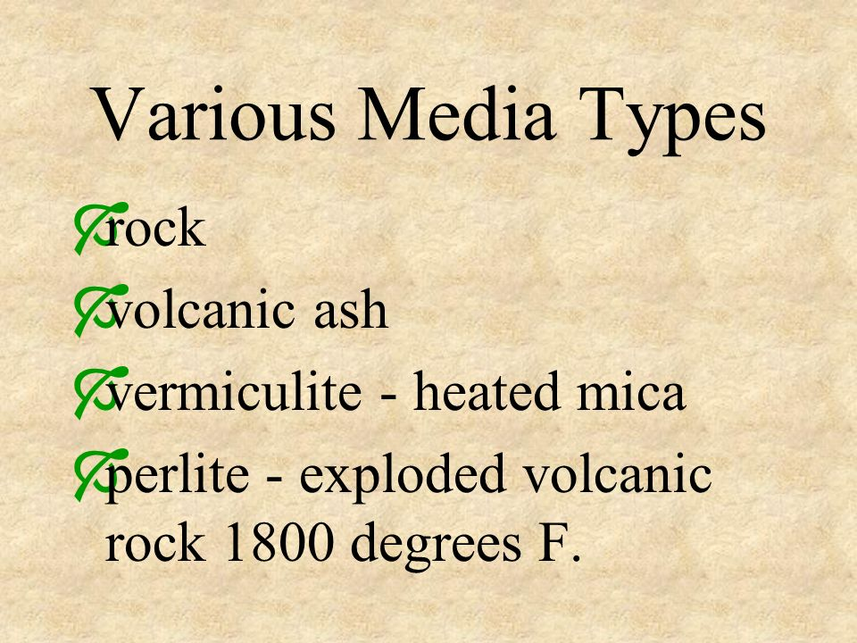 Various Media Types rock volcanic ash vermiculite - heated mica