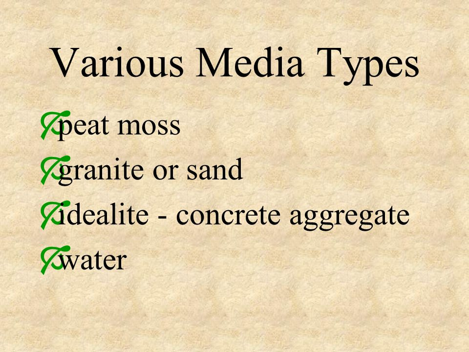 Various Media Types peat moss granite or sand