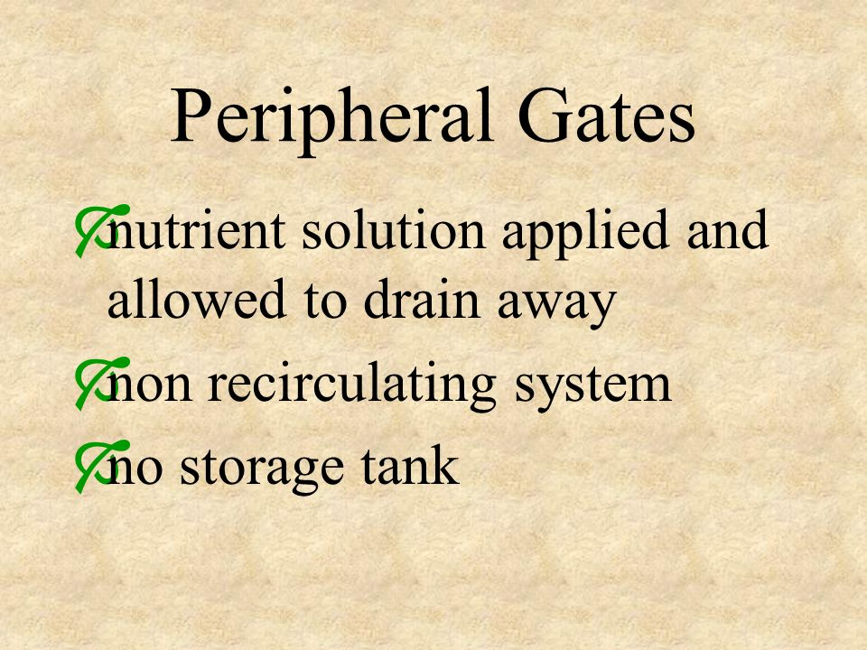 Peripheral Gates nutrient solution applied and allowed to drain away