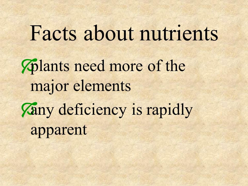 Facts about nutrients plants need more of the major elements