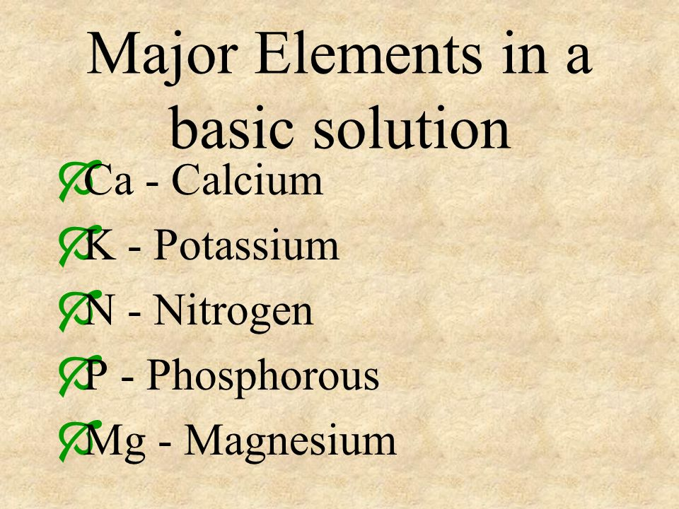 Major Elements in a basic solution