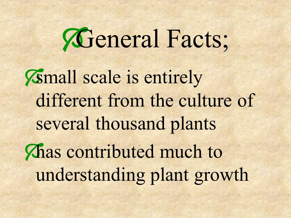 General Facts; small scale is entirely different from the culture of several thousand plants.