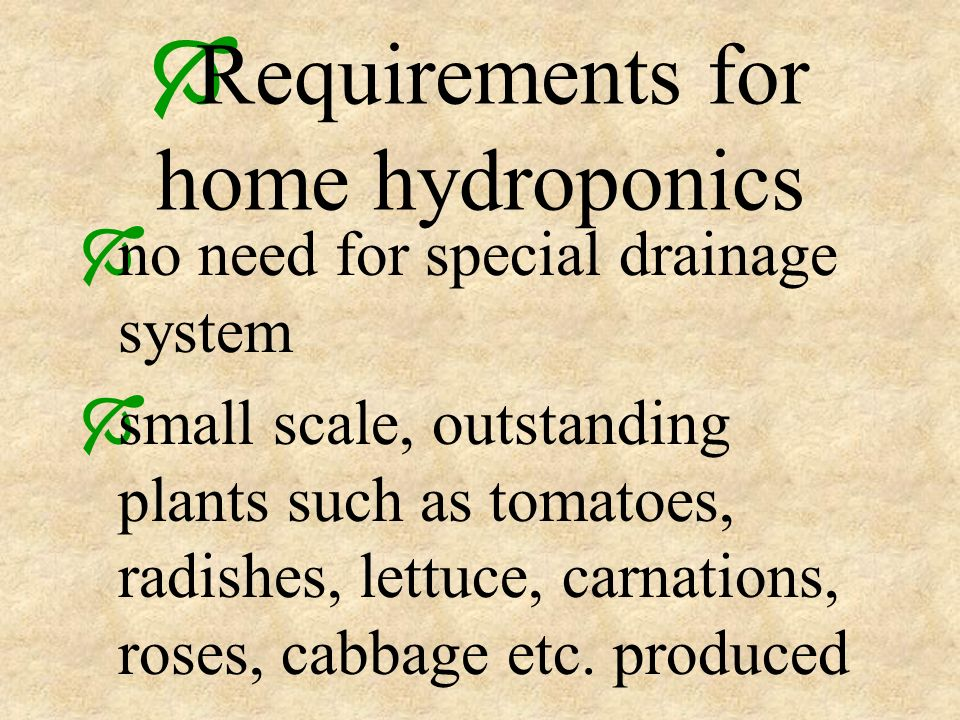 Requirements for home hydroponics