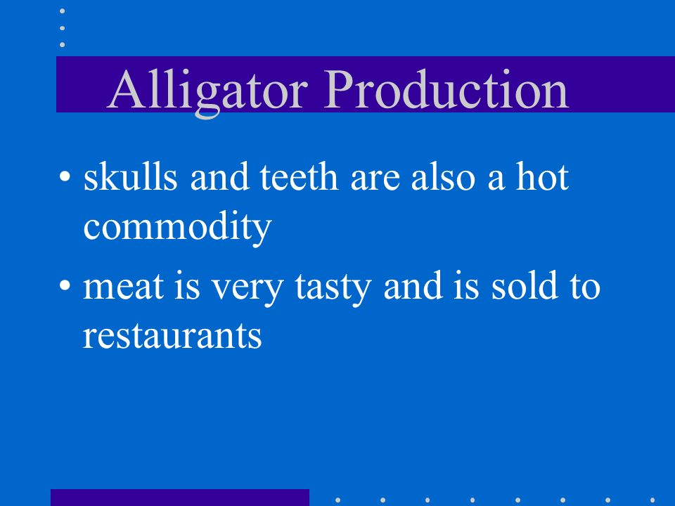 Alligator Production skulls and teeth are also a hot commodity